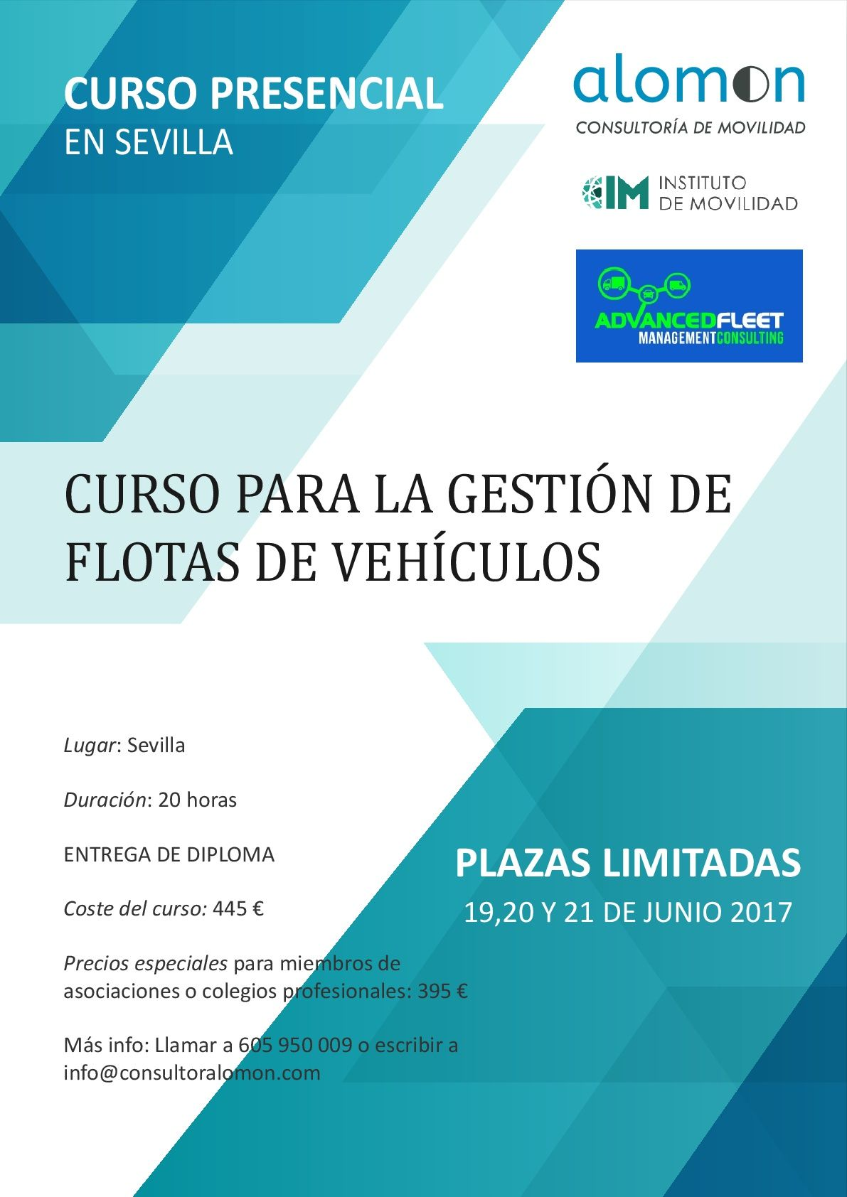 CURSO PRESENCIAL EN SEVILLA DE GESTIÓN DE FLOTAS DE VEHÍCULOS 19-20-21 de Junio